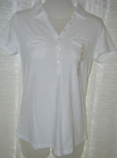 Women's Sonoma White Short Sleeve Pocket Polo Shirt Top Size XS, S, M