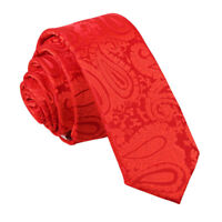 Red Mens Skinny Tie Woven Floral Paisley Formal Wedding Necktie by DQT