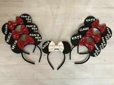 Personalised Minnie Mouse Ears Headband HEN PARTY SET Bride Veil Disney Theme