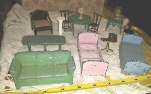 OLD VINTAGE LARGE LOT GERMAN FRENCH TOOTSIE TOY METAL DOLLHOUSE FURNITURE LOT