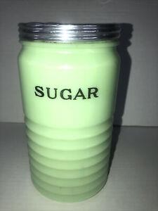 Vintage Jeannette Jadeite Horizontal Ribbed 40 Oz Sugar Canister Jar