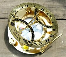 Vintage Shiny Brass Directional Working Round Sundial Magnetic Compass Gift.
