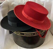 Vintage Disney Hat Box And 2 Very Nice Spanish Style Vintage Hats Red/black