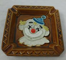 Glazed Ceramic Clown Ashtray Made in Japan Clowns Figurine Circus Smoking