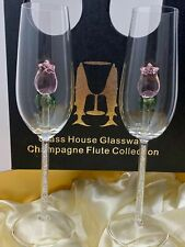 Two Rose Champagne Flutes in a Beautiful Gift Box