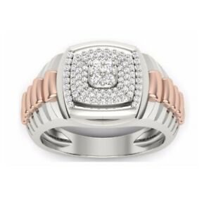 0.16Ct White Round Cut Diamond Two Tone Men's Wedding Ring 925 Sterling Silver