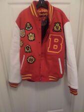 Vintage VARSITY Red Wool / White Leather-Like Sleeve Jacket Coat - 4XL MEN