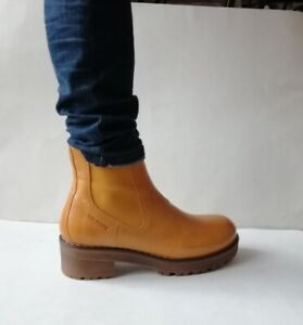 TEN POINTS Boots Chelsea Boots Woman Leather Yolk Mustard T 39 New
