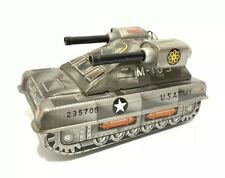 Vintage Tin Litho Friction Hisimo US Army Tank M-105 Toy 2 Guns Japan HTC WORKS