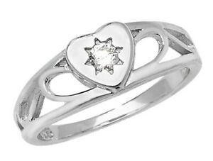 STERLING SILVER BABY RING CHILDS KIDS CUBIC ZIRCONIA HEARTS SIGNET BAND BOXED