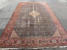 Antique Worn Hand Made Traditional Oriental Wool Blue Large Carpet 333x217cm