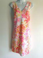 Lilly Pulitzer Sleeveless Lined Shift Dress Pink White Orange Flowers Large