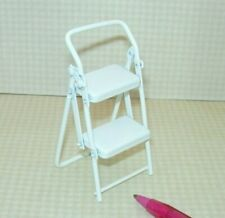 Miniature White Metal Folding Step Stool for Kitchen or Garage: DOLLHOUSE 1:12