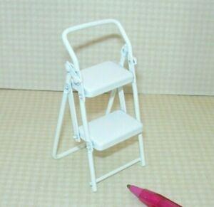 Miniature White Metal Folding Step Stool for Kitchen or Garage: DOLLHOUSE 1:12