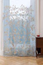 """Paradiso Scottish Lace Curtains - 68 x 63"""" Long, Turquoise/Stone"""