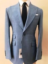 Sky blue summer linen suit with double stitched wide peak lapel made in Italy