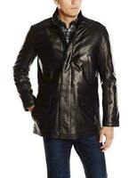 Cole Haan Mens Smooth Lamb Leather Car Coat Large