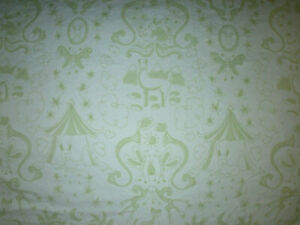 Pottery Barn Kids Baby  Crib Fitted Sheets- EUC Green Animals Bunny Monkey  HTF