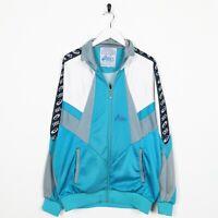Vintage 90s Asics Piccolo Logo Nastro Braccio Pista Top Giacca Blu Grande L,