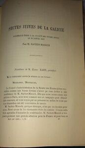 JUDAÏCA.SECTES JUIVES DE LA GALICIE.SACHER-MASOCH.1887.