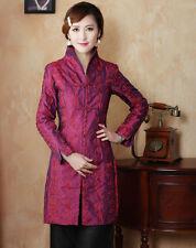 Vogue Chinese Women's Silk Long Jacket/Coat Burgundy Sz:M L XL XXL 3XL