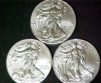 Lot of 3 American Silver Eagles 2014 2015 2016 1 oz .999 Fine Silver Dollars