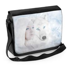 White Wolf and Woman Fantasy Art Laptop Messenger Bag