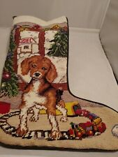 Tapestry Velvet Christmas Stocking Tree, puppy, train, window scene Noel