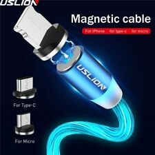 Magnetic LED Light Cable Fast Charging Magnet Micro USB Type C & Iphone Cable