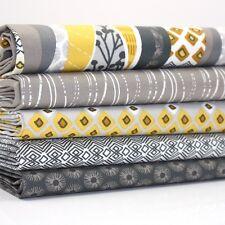 FQ Bundle -  Hip Hop - Yellow Grey x 5 - Cotton Fabric Patchwork Quilting ex. la