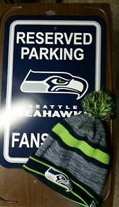 Seattle Seahawks Home Office Reserved Parking Sign!! Bonus Seahawks Stocking Cap