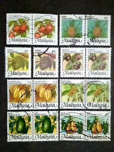 Malaysia 1986 Malaysian Fruits Complete Set Block Of 2 Except 80c - 16v Used