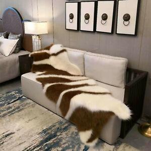 Luxury Faux Fur Hides Rug Beige Ivory Grey Lounges Throw Long Hair Area Rug Mat