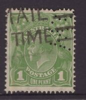 Australia 1d green KGV with private perfin