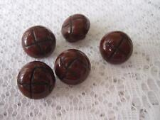 5 X BROWN BALL BUTTONS 17MM WIDE/SIZE 26-SHANK-ARAN KITWEAR