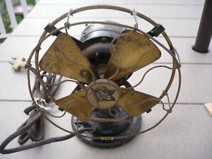 "Antique 6"" Robbins & Myers Brass 4-Blade Fan No. 2800 AC/DC nice original .99NR"