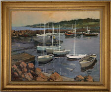 ELYSEE DELCAMBRE (b.1930) VERY LARGE FRENCH SIGNED OIL - BOATS MOORED IN ESTUARY