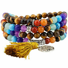 108 Prayer Beads Stone Mala Bracelet Tibetan Buddhist 7 Chakra & Tiger's Eye-6mm
