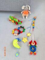 Holzspielzeug,  Kuschelmaus und Aufhänger / 5 Teile