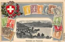 SWITZERLAND EMBOSSED STAMP PC, OBERHOFEN AM THUNERSEE VIEW ~ c 1904-14