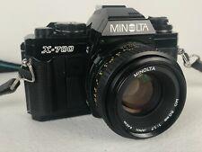 Minolta X-700 35mm SLR Film Camera + Lenses Flash Manuals Tested! LOT Vivitar
