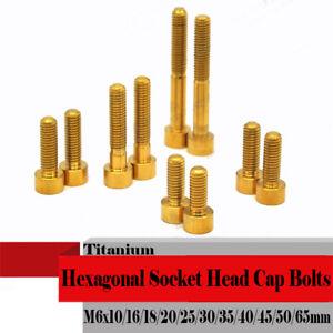 10pcs Titanium M6 *10/16/20/30/40/50/65mm Hexagonal Socket Head Cap Screws Bolts