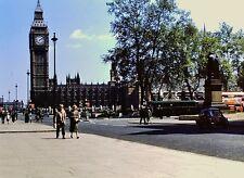Vintage Slide 1950's London Big Ben Double Decker Bus Telephone Box City Life