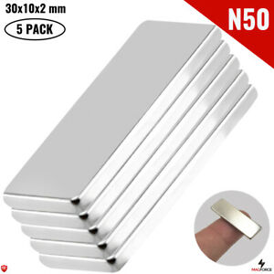 5Pcs Super Strong N50 30x10x2mm Neodymium Magnet Iman DIY Rectangular/Bar