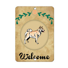 Welcome Norwegian Buhund Dog Metal Sign - 8 In x 12 In