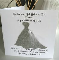 "Wedding Thank You 6"" sq Card Will you be our ??? Personalised Bride Flower Maid"