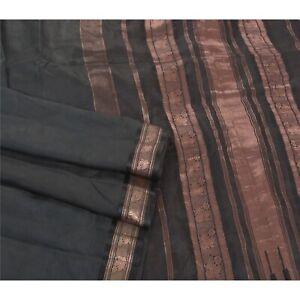 Sanskriti Vintage Black Sarees Pure South Silk Woven Zari Floral Sari Fabric
