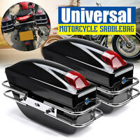 2X Universal Motorcycle Hard Trunk Saddle Bags Side Boxs Luggage W/ Lights