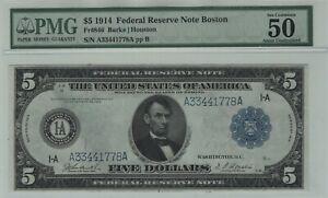 1914 $5 Federal Reserve Note Boston Fr.846 Burke Houston PMG ABOUT UNC 50 EPQ