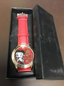 """Betty Boop Avon Watch King Feature New Box 2015 Japan Movement Red Leather 9.5"""""""
